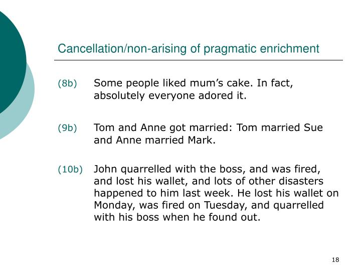 Cancellation/non-arising of pragmatic enrichment