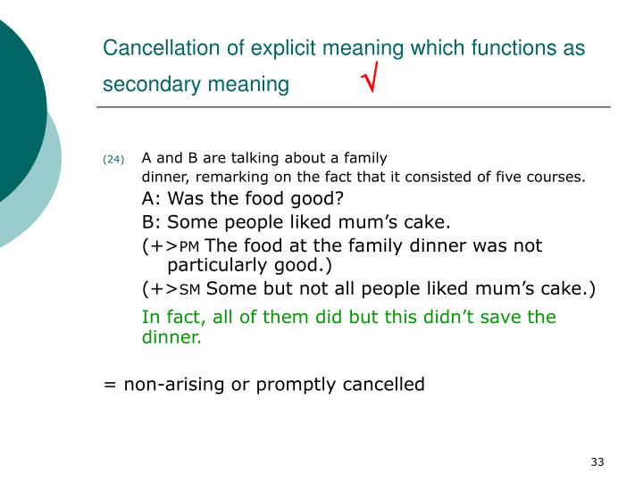 Cancellation of explicit meaning which functions as secondary meaning