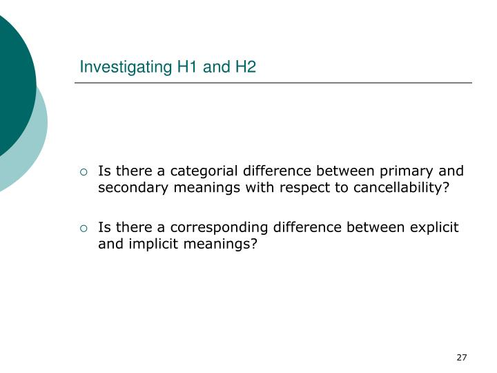 Investigating H1 and H2