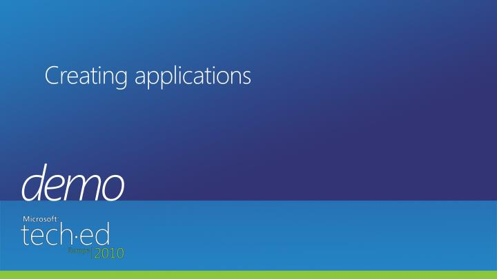 Creating applications