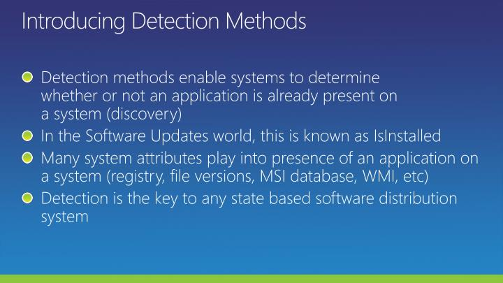 Introducing Detection Methods