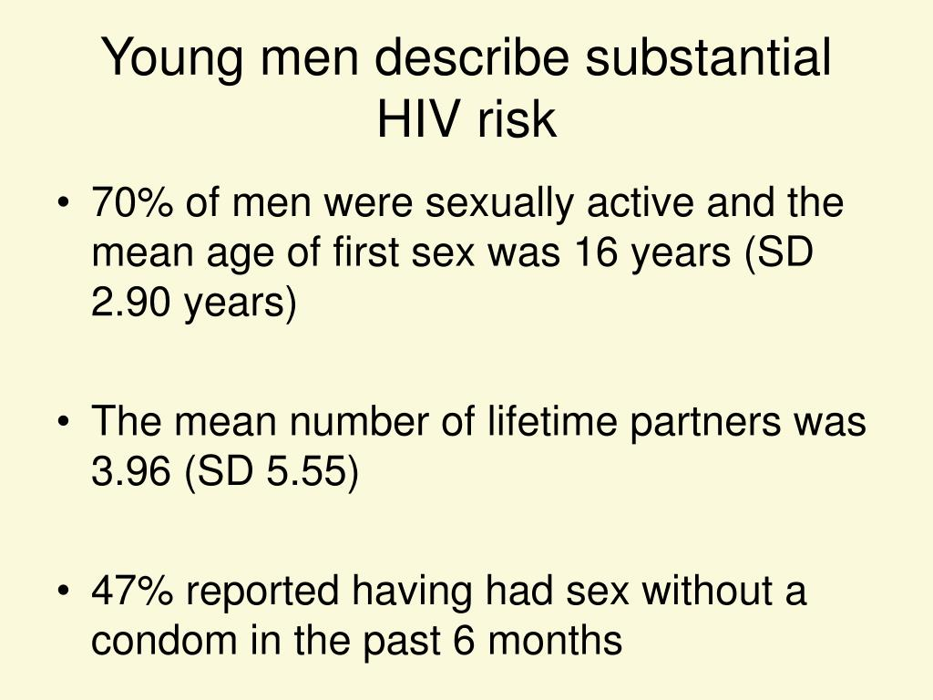Young men describe substantial HIV risk