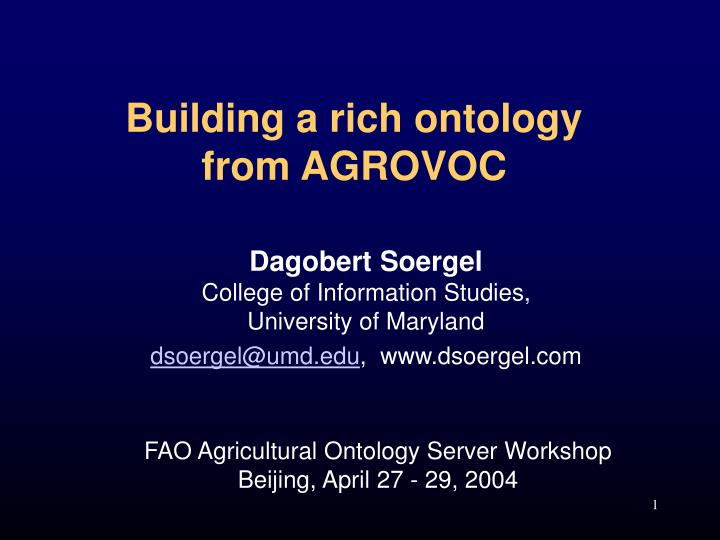 Building a rich ontology from agrovoc