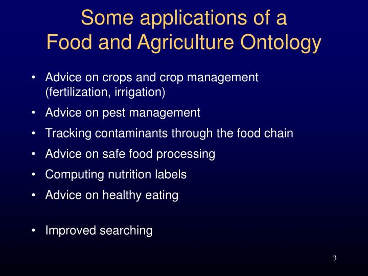 Some applications of a food and agriculture ontology