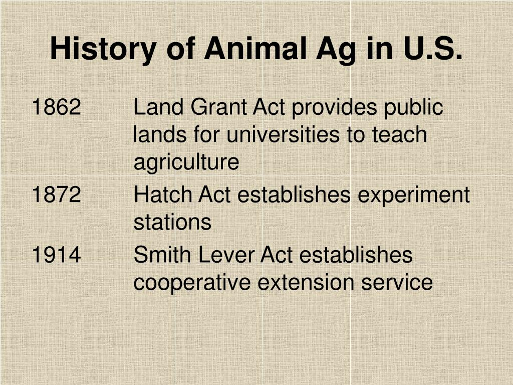 History of Animal Ag in U.S.