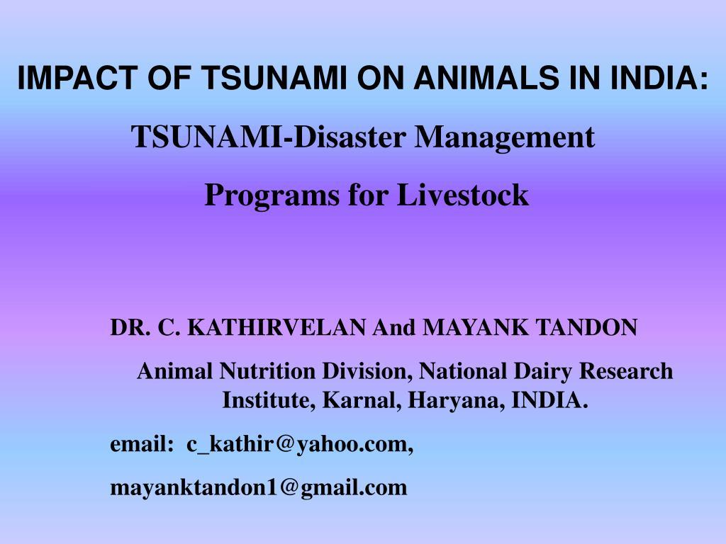 IMPACT OF TSUNAMI ON ANIMALS IN INDIA: