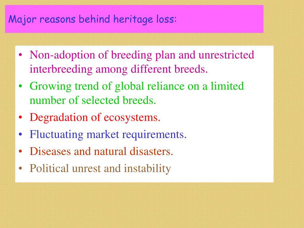 Major reasons behind heritage loss: