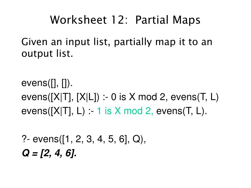 Worksheet 12:  Partial Maps