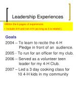 leadership experiences