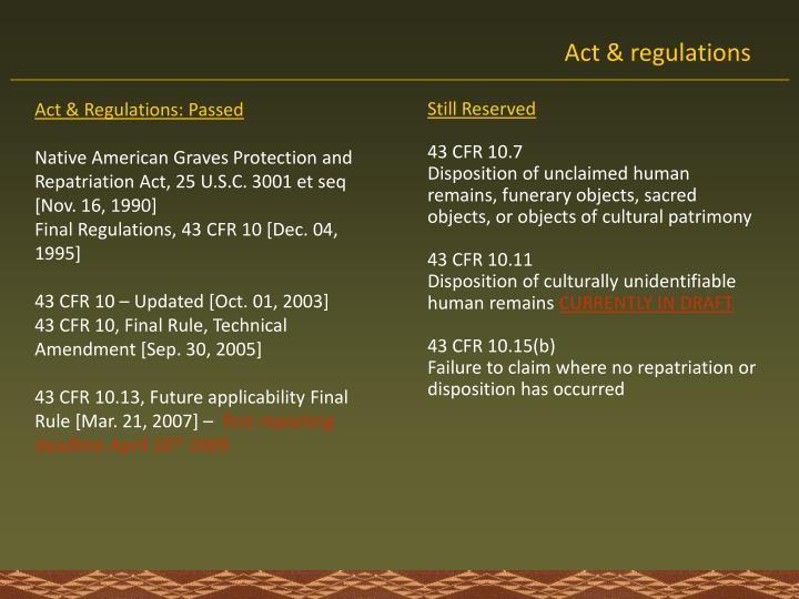 Act & Regulations: Passed