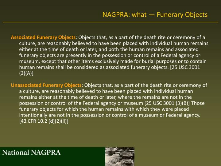 NAGPRA: what — Funerary Objects