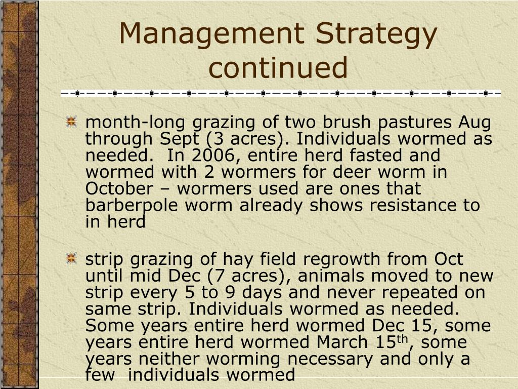 Management Strategy continued