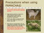 precautions when using famacha