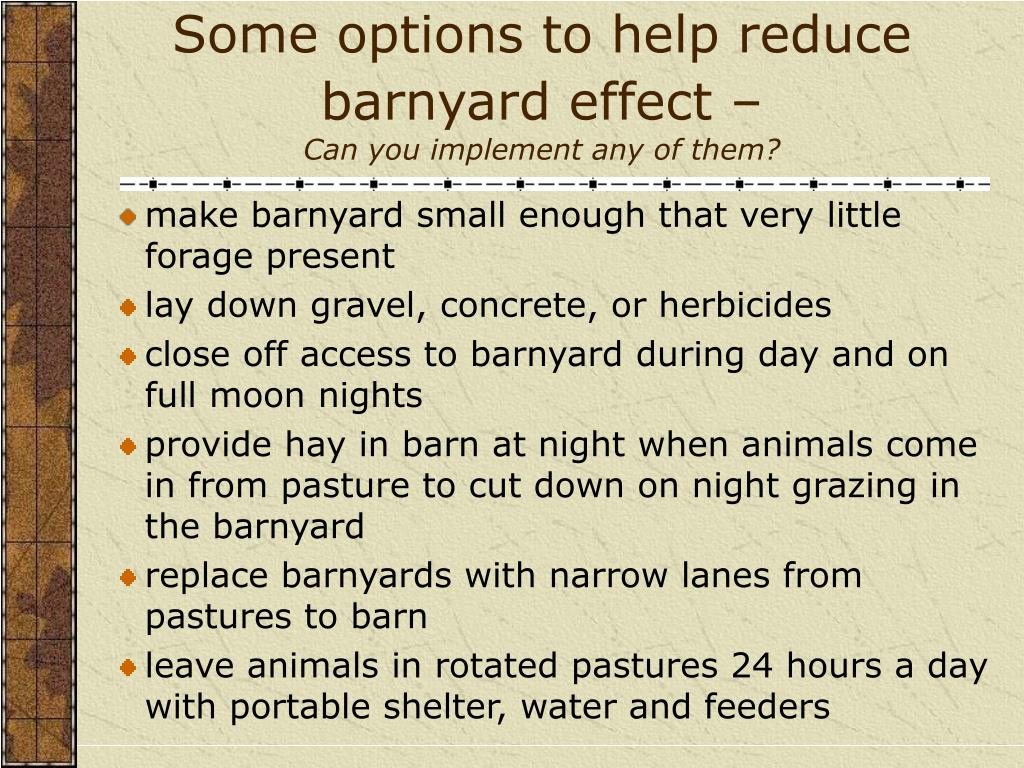 Some options to help reduce barnyard effect –