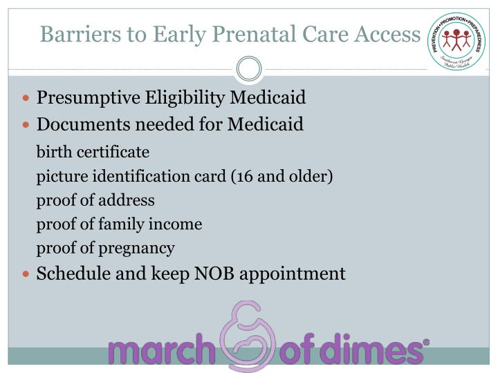 Barriers to early prenatal care access