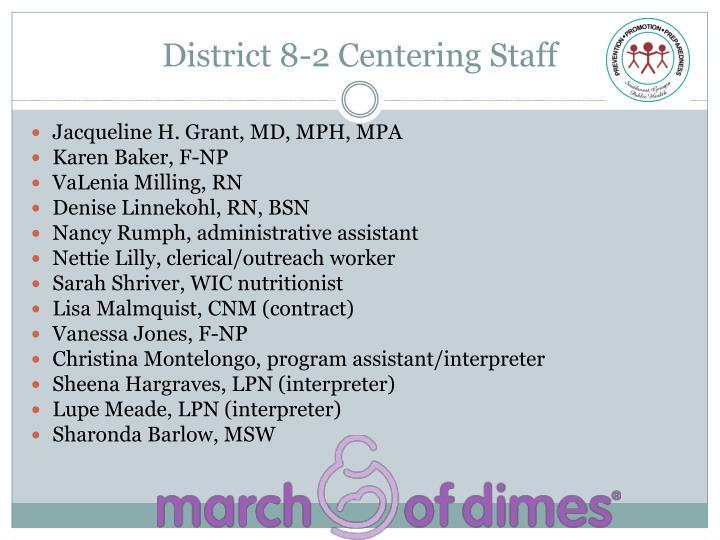 District 8-2 Centering Staff