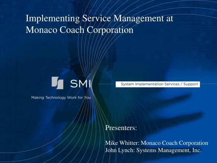 Implementing Service Management at