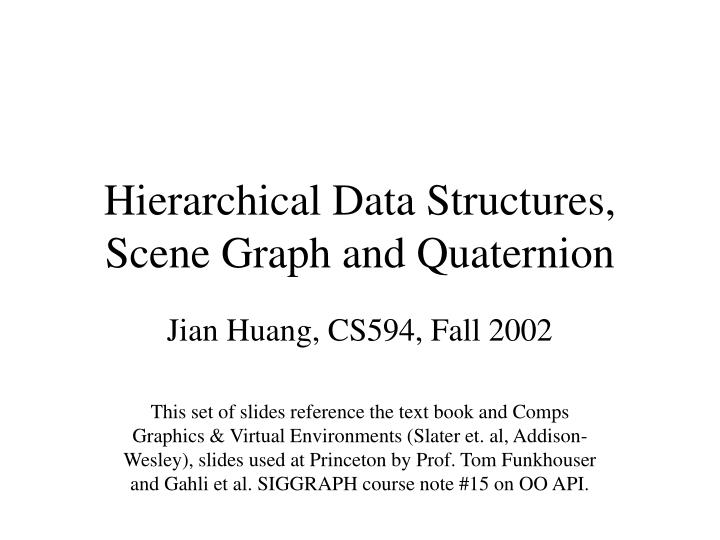 Hierarchical data structures scene graph and quaternion