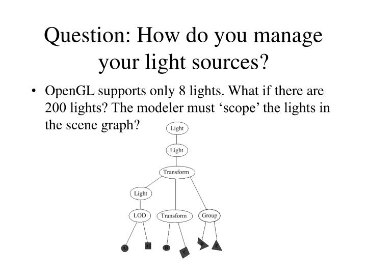 Question: How do you manage your light sources?