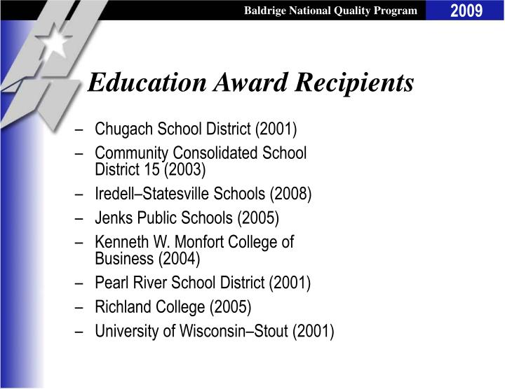 Education Award Recipients
