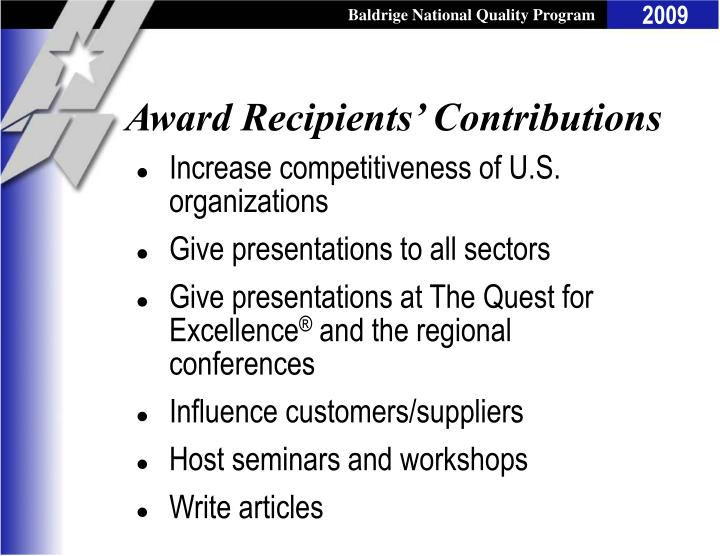 Award Recipients' Contributions