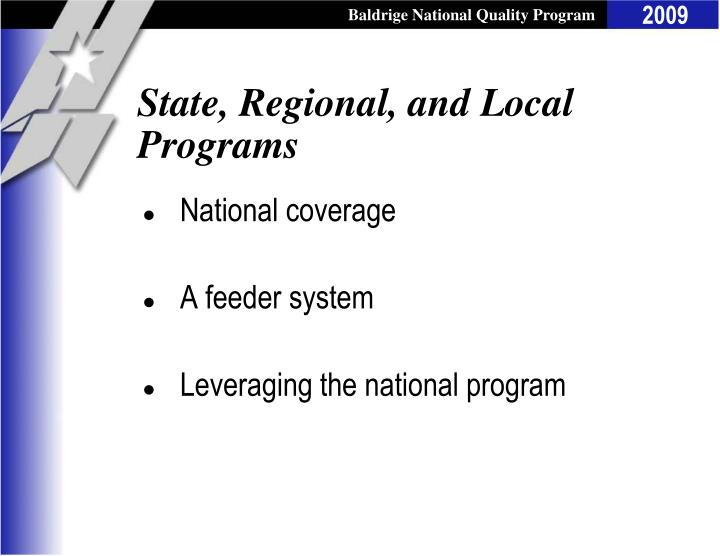 State, Regional, and Local Programs
