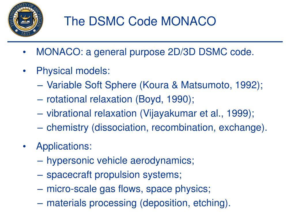 The DSMC Code MONACO