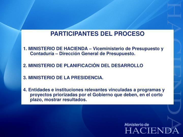 PARTICIPANTES DEL PROCESO