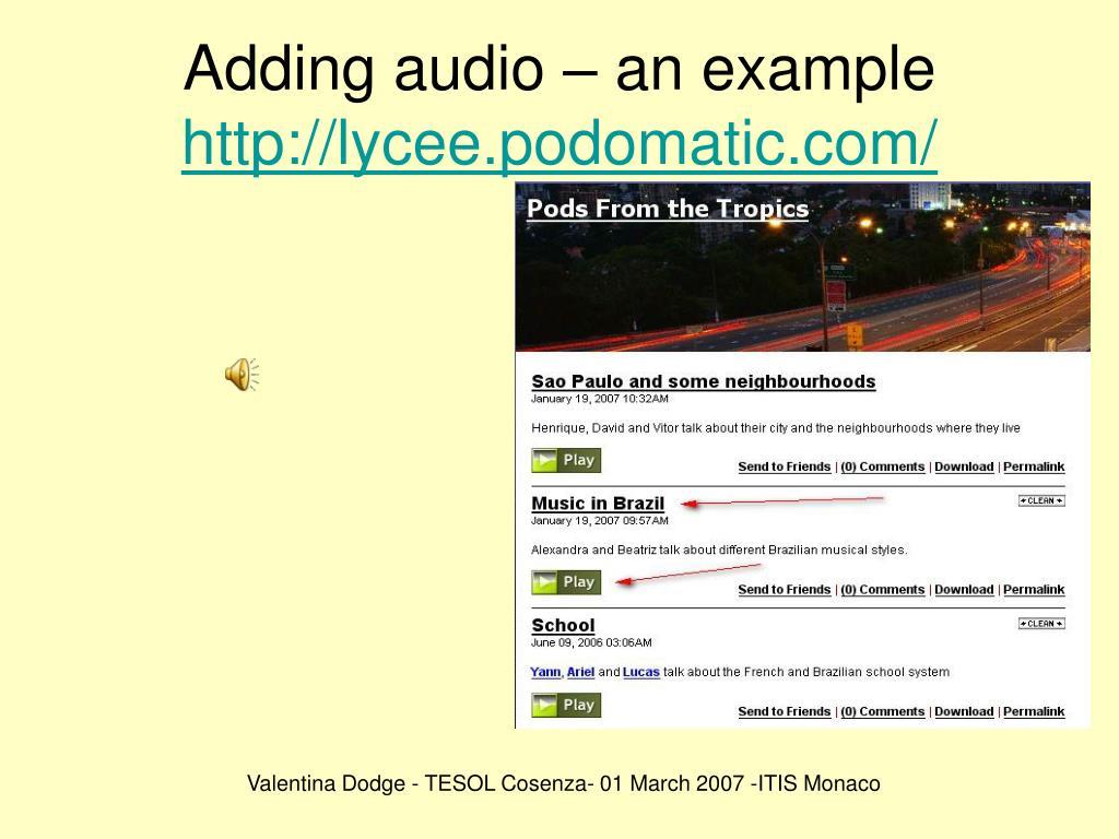 Adding audio – an example