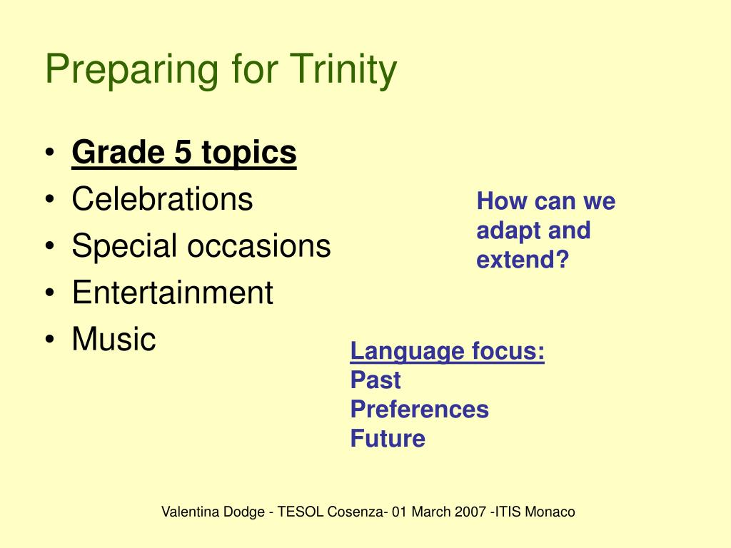 Preparing for Trinity