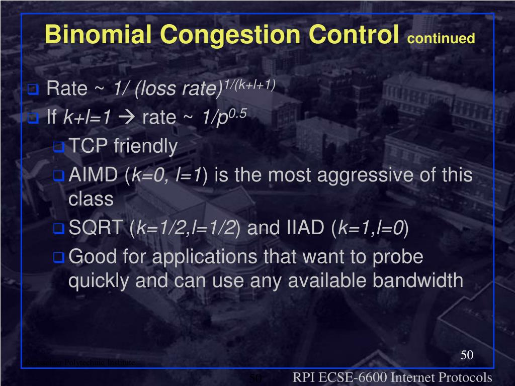 Binomial Congestion Control