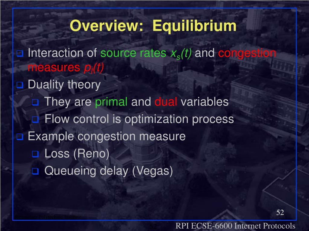 Overview:  Equilibrium