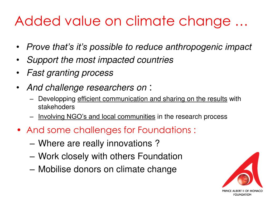 Added value on climate change …