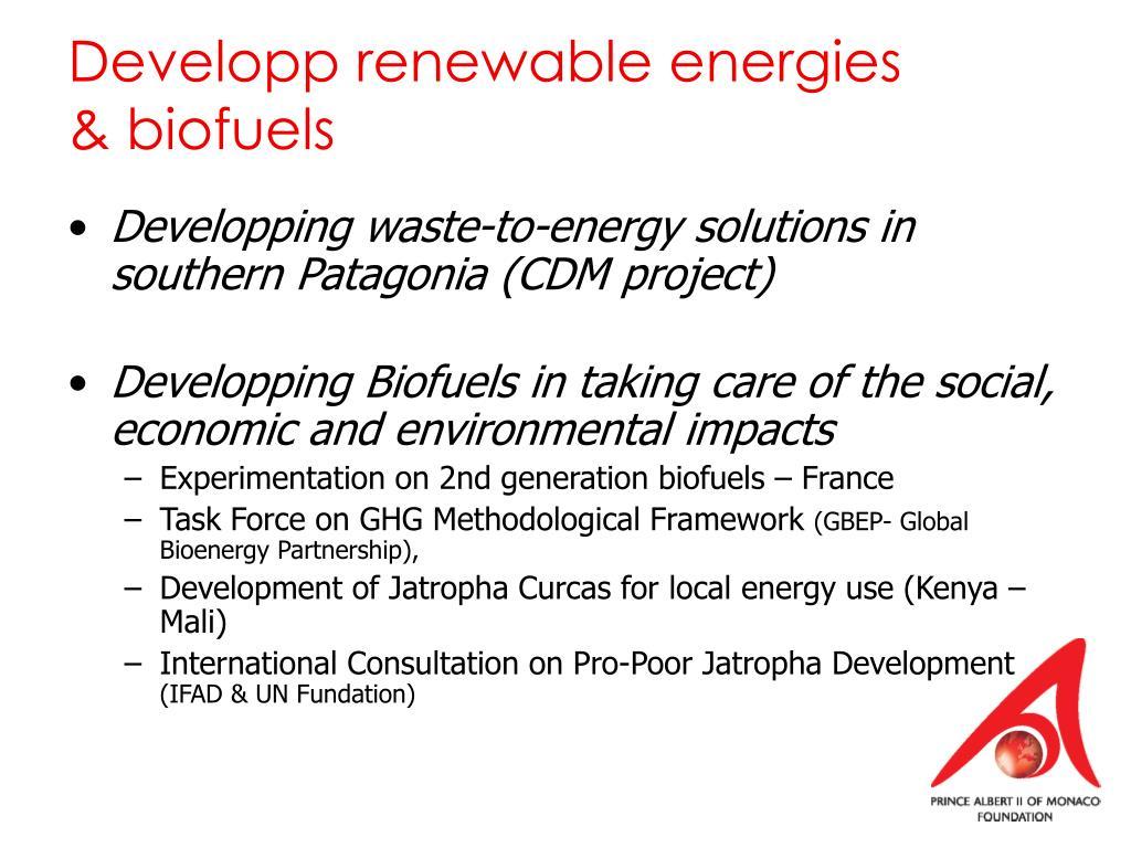 Developp renewable energies