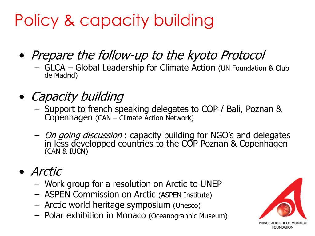 Policy & capacity building