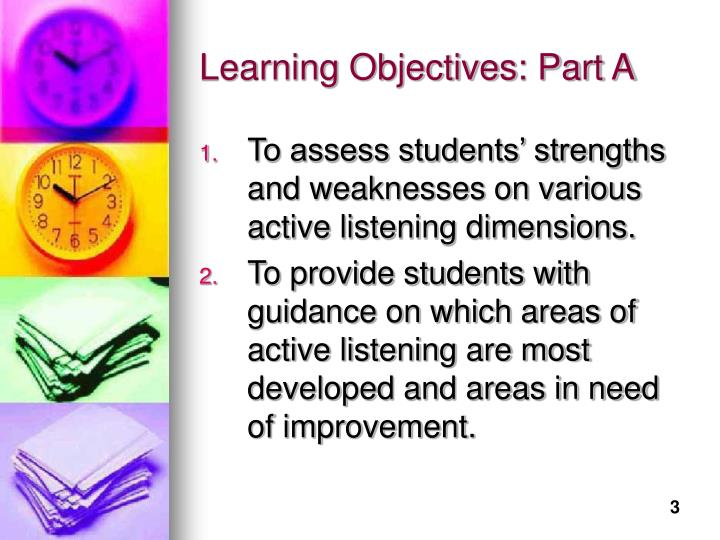 Learning objectives part a
