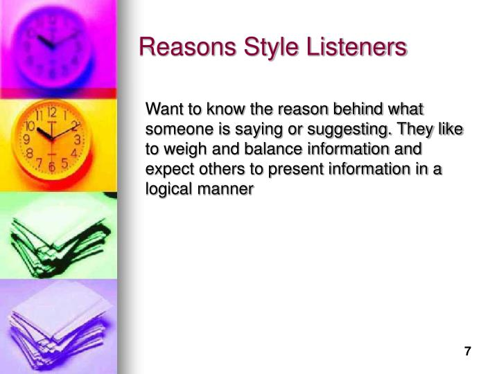 Reasons Style Listeners