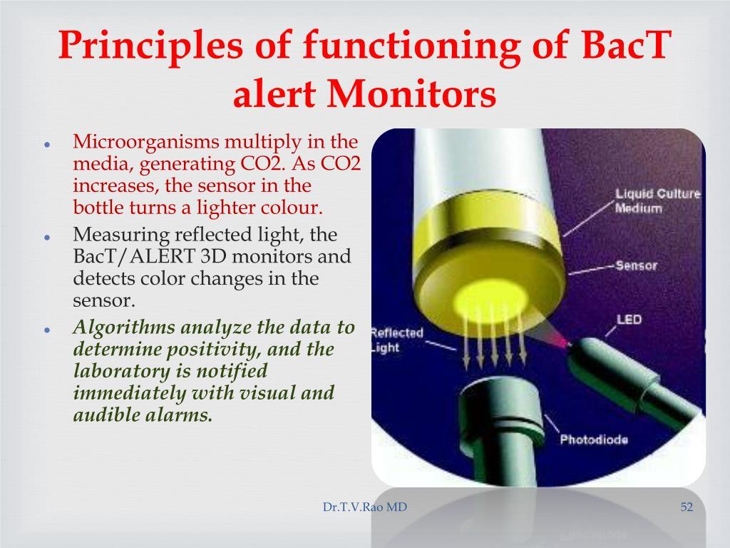 Principles of functioning of BacT alert Monitors
