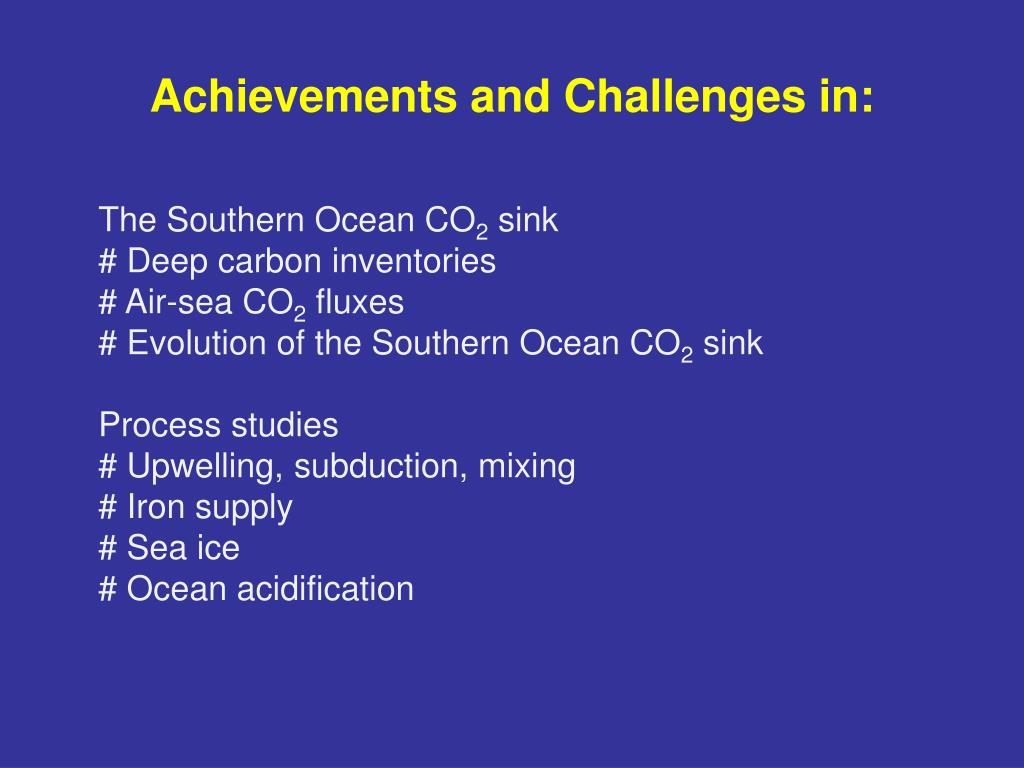Achievements and Challenges in: