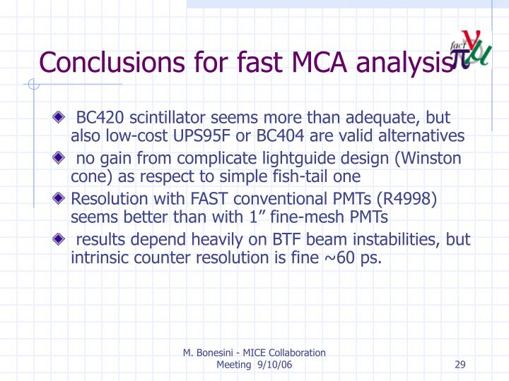 Conclusions for fast MCA analysis