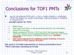 conclusions for tof1 pmts