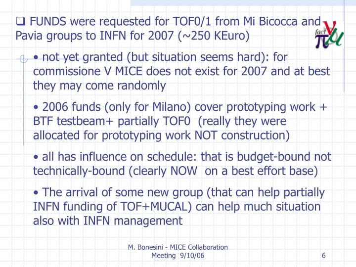 FUNDS were requested for TOF0/1 from Mi Bicocca and Pavia groups to INFN for 2007 (~250 KEuro)