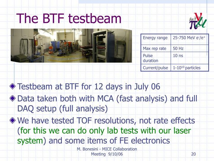 The BTF testbeam