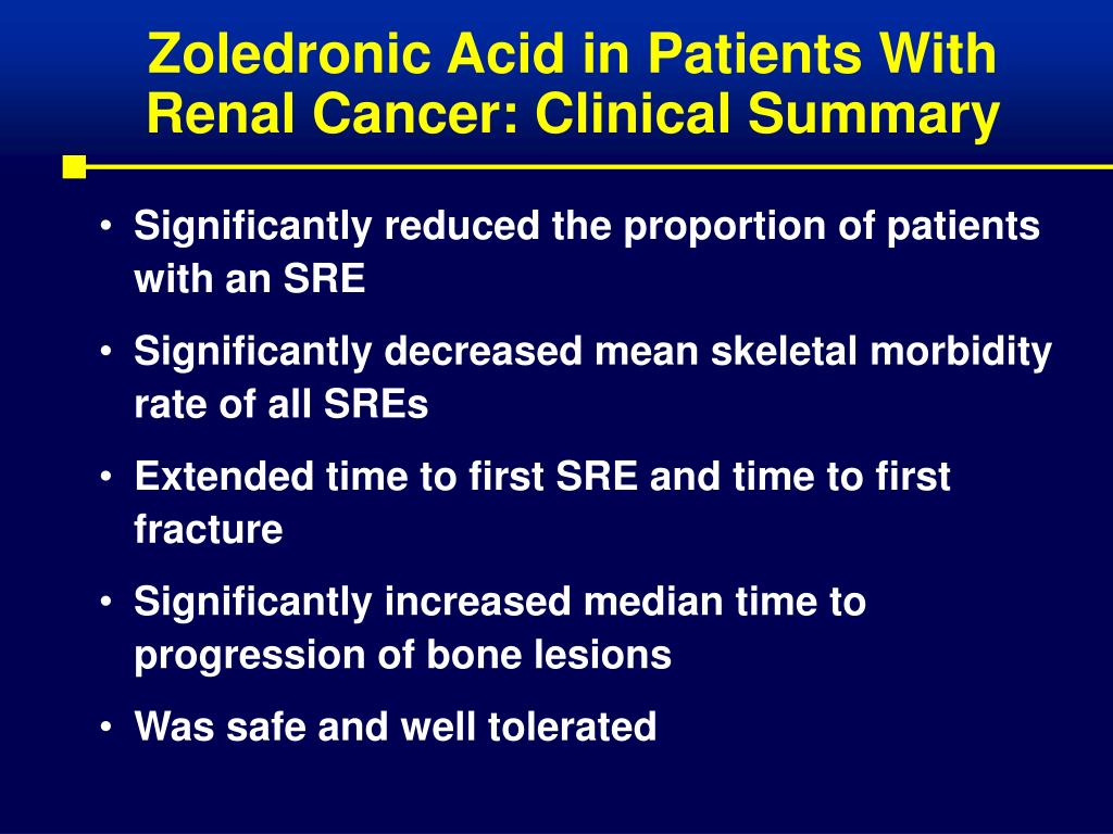 Zoledronic Acid in Patients With Renal Cancer: Clinical Summary