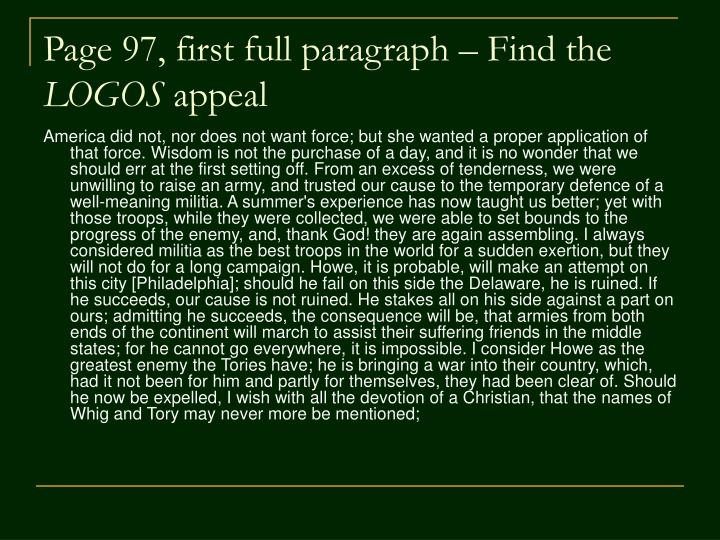 Page 97, first full paragraph – Find the