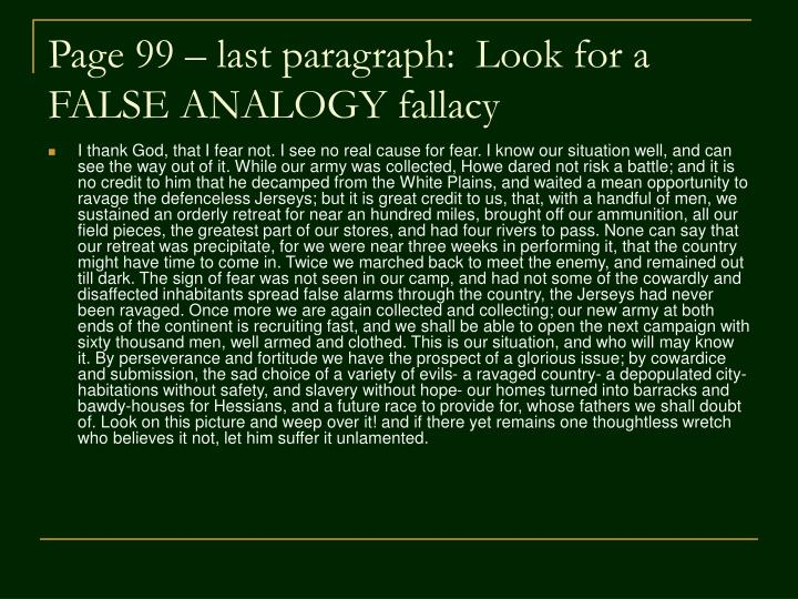 Page 99 – last paragraph:  Look for a FALSE ANALOGY fallacy
