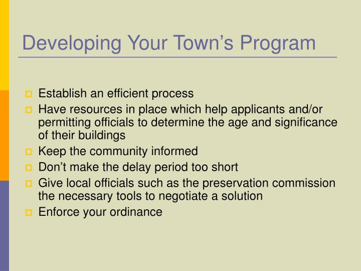 Developing Your Town's Program
