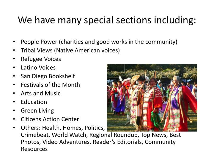 We have many special sections including: