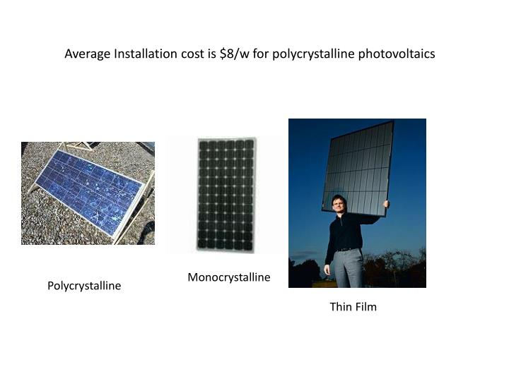 Average Installation cost is $8/w for polycrystalline photovoltaics