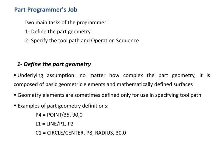 Part Programmer's Job
